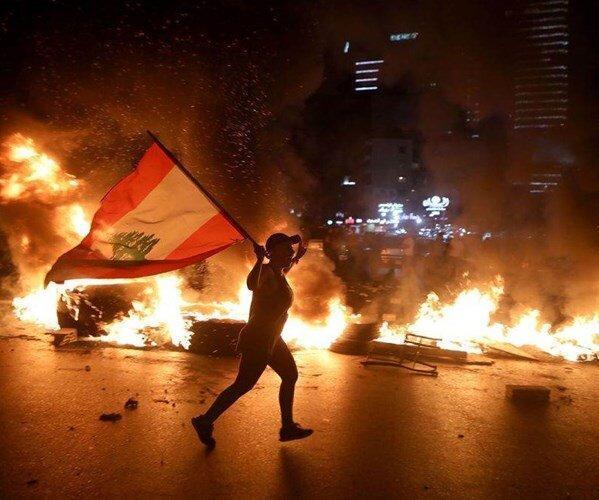 درگیری نیروهای امنیتی با تظاهرکنندگان لبنانی در بیروت